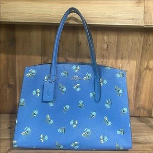 Coach Charlie Floral Carryall Tote Blue